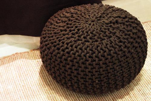 pouf marron chocolate
